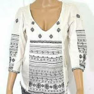 Lucky Brand cream embroidered top